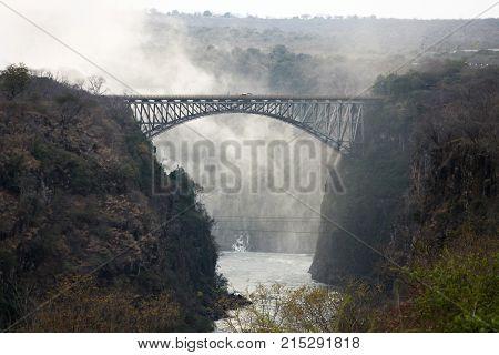 The bridge over the Zambezi river Victoria falls on the border of Zimbabwe and Zambia Africa