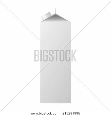 Vector mock up of milk or juice box on white background. Realistic carton one liter package with cap isolated. Template for your design. Front side view. 3d illustration.