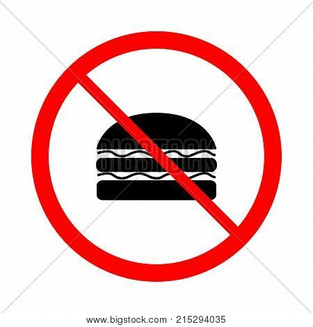 Do not eat black sign in red circle. Icon restriction eating on white background. Healthy food concept. Sticker silhouette forbidden eating and drink. Flat vector image. Vector illustration.