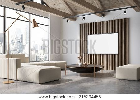 White And Wooden Living Room Corner, Poster, Sofa