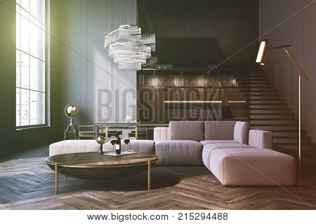 Gray Living Room, Sofa And Table Toned