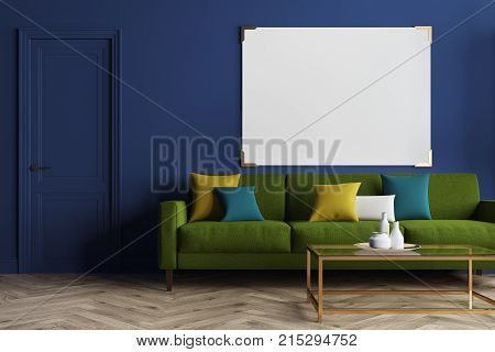 Blue Living Room, Green Sofa