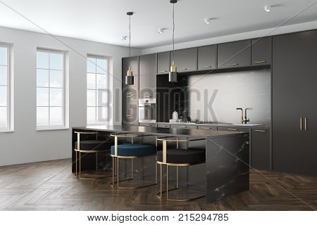 Black Marble Kitchen Interior Side