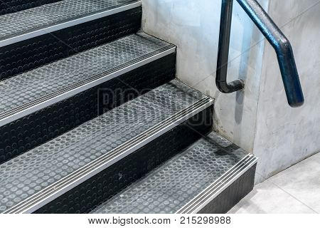 Non-slip Stairs With Dot Pattern Close Up For Background.