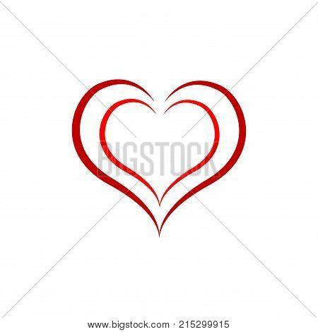 Heart around heart t shirt. Fashion stylish print for sports wear. Heart as symbol of linked join love. Typographic print poster. Template for t shirt apparel card label poster. Design element.