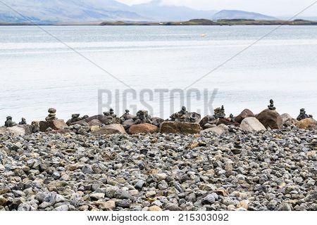 Stone Pyramids On Atlantic Coast In Reykjavik