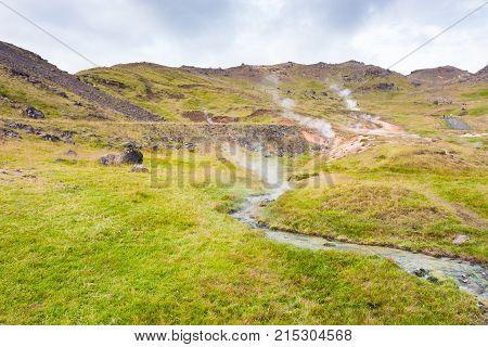 Hot Water Flow In Hveragerdi In Iceland