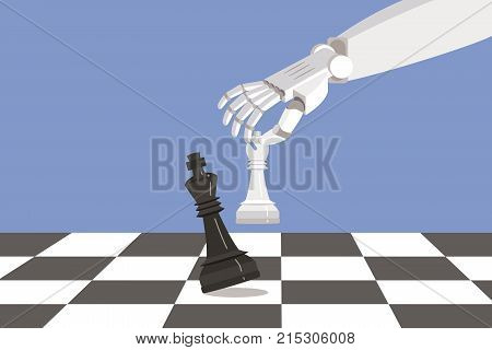 Robot playing chess and checkmate. Artificial intelligence surpasses the human brain.