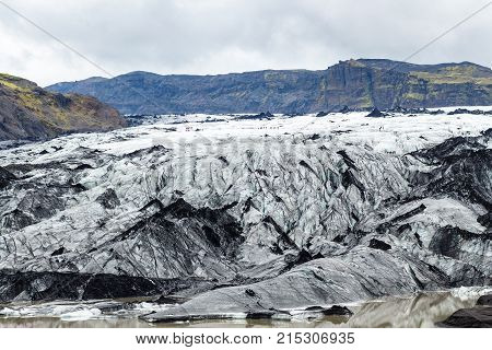 Surface Of Solheimajokull Glacier In September