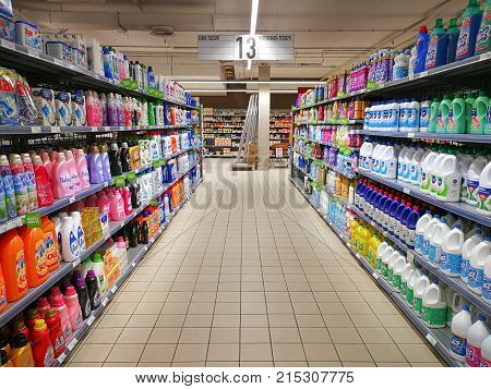 ROME, ITALY. November 23, 2017: Soaps and detergents for house cleaning department in a shopping center