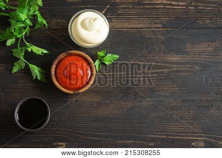 Ketchup, Mayonnaise And Soy Sauce