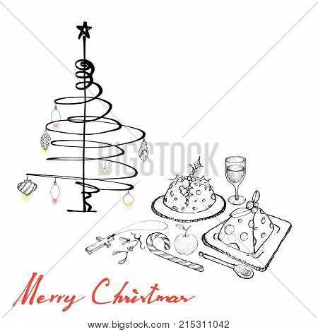 Illustration Hand Drawn Sketch of Christmas Pudding with Apple, Wine and Candy Cane on A Table for Thanksgiving, Christmas and New Year Holiday Dinner.