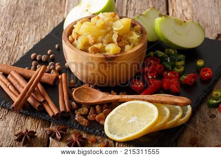Spicy Indian Sauce - Apple Chutney With Lemon Close-up In A Bowl. Horizontal