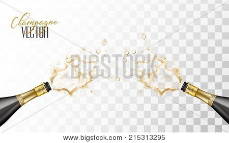 Realistic champagne explosion. Black glass bottles with gold label popping its cork splashing opposite each other. Christmas, new year, birthday celebration vector illustration, transparent background