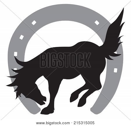 Silhouette of bucking horse in front of a horse shoe