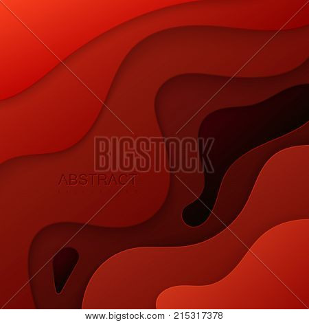 Abstract paper cut background. Red paper layers. Origami or carving decoration. Topography concept. Vector illustration