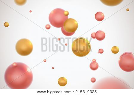 Abstract colorful molecular particles. Vector illustration of chaotic flowing pink and golden spheres. Biochemistry or pharmaceutical concept