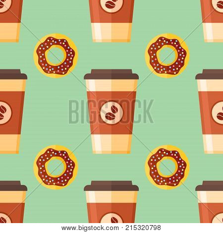 Seamless pattern with coffee takeaway and chocolate glazed donut on green background. Vector texture.