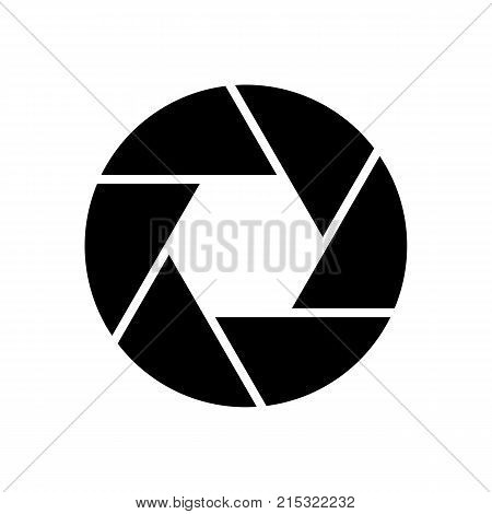 Camera objective icon isolated on white background, for web design, app, logo, UI. Shutter closeup sign. Diaphragm simbol in flat style. Vector illustration.