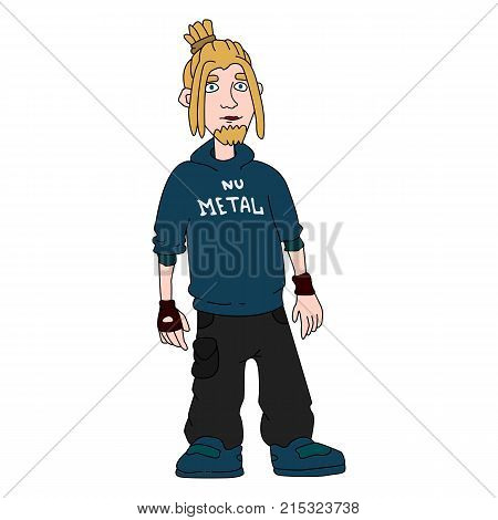 The character of the style of nu-metal. Metalhead musician. Good hipster. The notion of subculture. Vector isolated image.