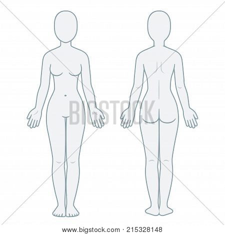 Female Body Front And Back View Blank Woman Template For Medical Infographic