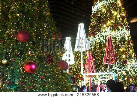BANGKOK , THAILAND - NOVEMBER 22 , 2017 : Light decorate beautiful and Christmas Tree Celebration 2018 at Central World Department store for Christmas day and Happy New Year  event in Bangkok capital city , Thailand.