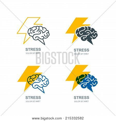 Vector Human Brain And Lightning Logo, Sign. Stress Concept. Brainstorming And Creativity Isolated I