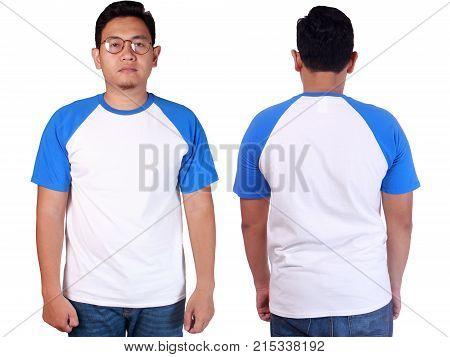 White Blue Ringer Shirt Mockup Template
