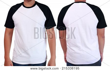 White Black Ringer Shirt Mockup Template