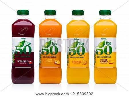 London, Uk - November 24, 2017: Bottles Of Tropicana Fruit Juices On White. Tropicana Products Inc.