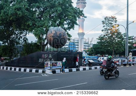 Bandung, Indonesia - October 2017 : Bandung city Asia - Afrika street in the central area, downtown view. Bandung is capital of Indonesia's West Java province.