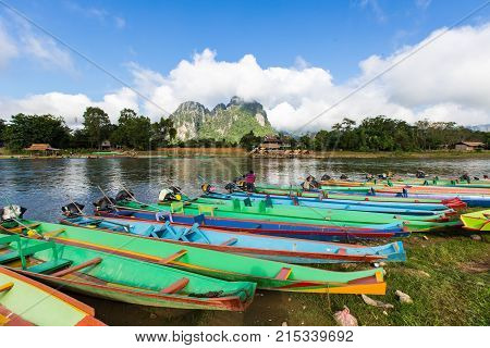 Boat In Song River At Vang Vieng