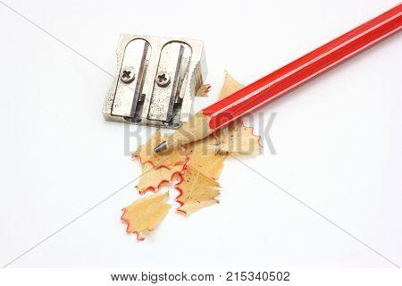 shot of sharpener pencil and pencil metal