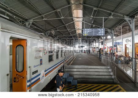 Yogyakarta, Indonesia - October 2017: Train station in Yogyakarta, Jawa, Indonesia. Yogyakarta is located in central Java and visited by many tourists from across Java by train.