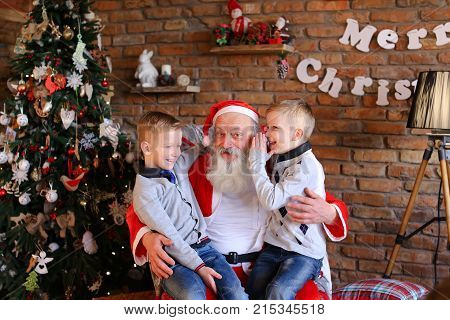 Lovely boys of same appearance sit on lap Santa Claus who sits large and soft armchair whisper in ear cherished wishes for New Year cozy spacious room decorated