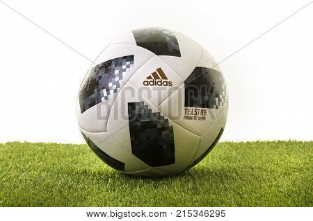 SWINDON UK - NOVEMBER 18 2017: Adidas Telstar Top Glider World Cup 2018 Football The Official Matchball for the 2018 Russia World Cup.