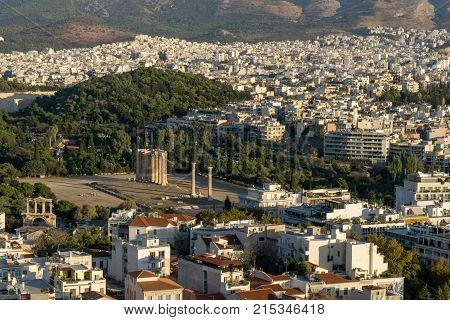 November 4, 2017: Roman Agora Athens historic center Attica in Athens, Greece as viewed from the Acropolis.