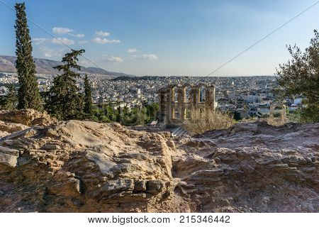 Odeon of Herodes Atticus in Athens Greece taken in November 4, 2017