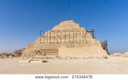 Saqqara Egypt November 2017: Step pyramid of Djoser in Saqqara an archeological remain in the Saqqara necropolis Egypt