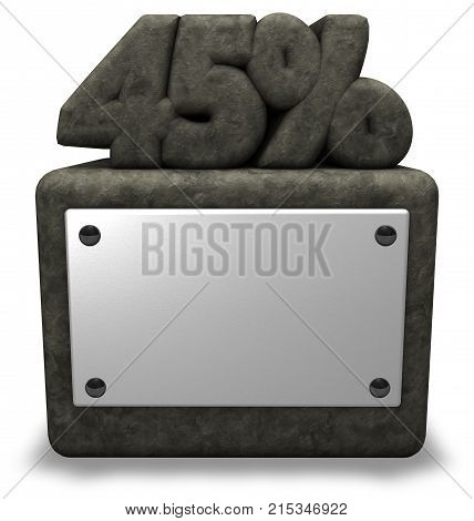 stone number forty-five and percent symbol on stone socket - 3d rendering