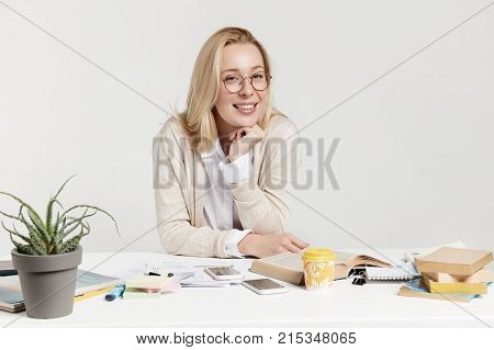 Successful Female Writer Wears Spectacles, Has Cheerful Expresion As Finishes Working At New Chapter