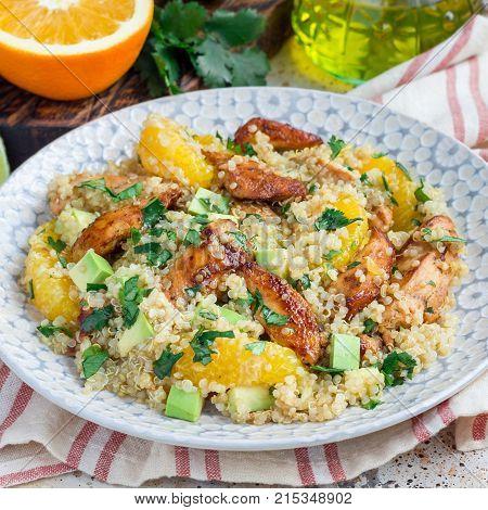 Quinoa orange and chicken salad tabbouleh square format