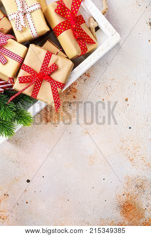 box for presents on a table, stock photo