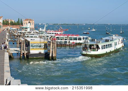 VENICE, ITALY - SEPTEMBER 26, 2017: Fondamente Nuove - one of nodal piers in city vaporetto route