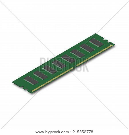 RAM module isolated on white background. Element for the design of digital devices and computer accessories. 3D isometric style vector illustration.