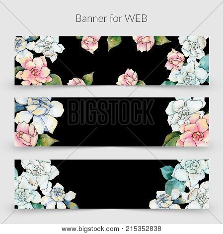Wildflower gardenia  flower frame in a watercolor style. Full name of the plant: gardenia . Aquarelle wild flower for background, texture, wrapper pattern, frame or border.