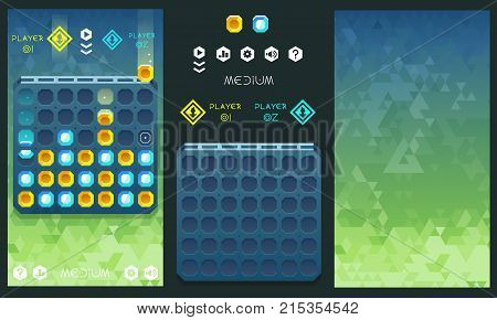 Vector connect four game concept with assets and geometric background
