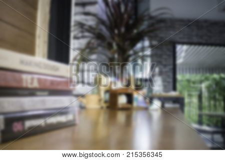 Minimal green plant in pot on table stock photo