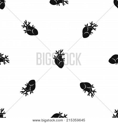 Heart pattern repeat seamless in black color for any design. Vector geometric illustration