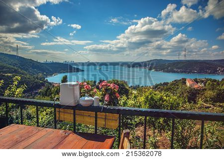 A lovely cafe at Yoros fortress with view of Bosphorus and buildings of Istanbul on background